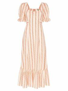 Rixo Kate floral-stripe midi-dress - Orange