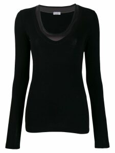 Brunello Cucinelli long-sleeve fitted top - Black