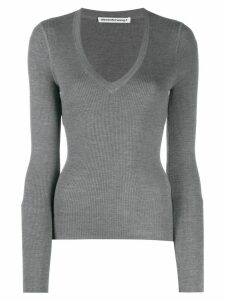 T By Alexander Wang fitted V top - Grey