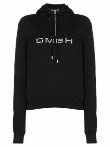 GmbH half-zip logo-embroidered hoodie - Black