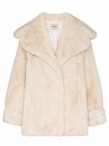 We11done oversized faux fur coat - Neutrals