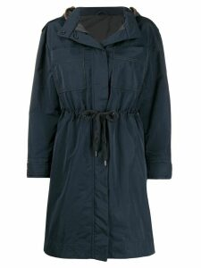 Brunello Cucinelli bead-embellished raincoat - Blue