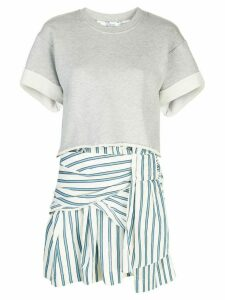 Derek Lam 10 Crosby 2-in-1 Striped Cotton Terry Tie Dress with Cropped