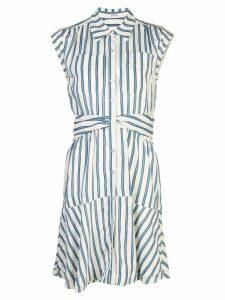 Derek Lam 10 Crosby Short Sleeve Ramie Striped Shirt Dress with Twist
