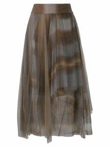 Brunello Cucinelli asymmetric flared midi skirt - Grey