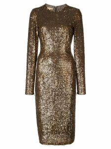 Michael Kors sequinned midi dress - Brown