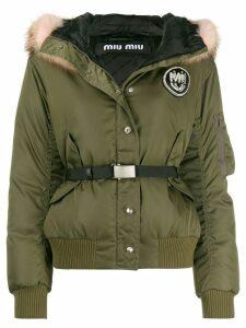 Miu Miu racoon fur collar puffer jacket - Green