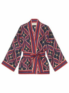 Gucci Kimono top with GG ribbons print - Red