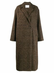Société Anonyme checked midi coat - Brown