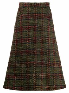 Société Anonyme checked pattern midi skirt - Green