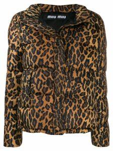 Miu Miu leopard print puffer jacket - Brown