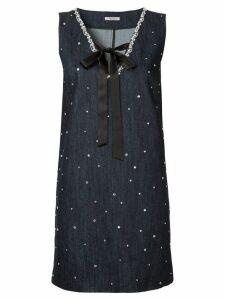 Miu Miu crystal-embellished denim dress - Blue