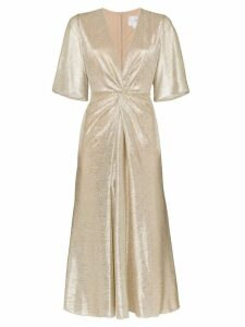 Galvan Stella twist-detail midi dress - Gold