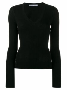 T By Alexander Wang fitted V top - Black