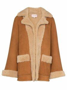 Natasha Zinko graphic print shearling jacket - Brown
