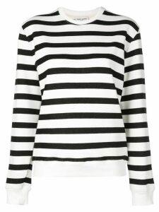 Saint Laurent crew neck striped sweatshirt - White