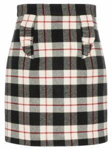 Miu Miu ruffle-detail checked skirt - Black