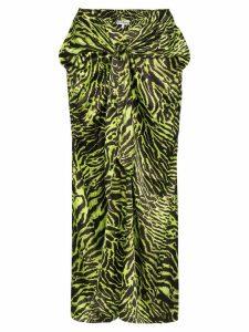 GANNI tiger print wrap front skirt - Black