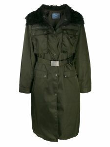 Prada long belted coat - Green