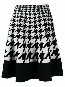 Alexander McQueen houndstooth pattern full skirt - Black
