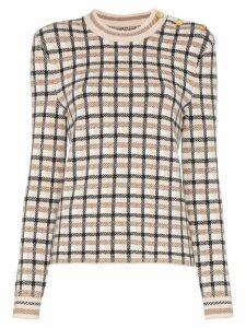 Paco Rabanne button-shoulder check sweater - Neutrals