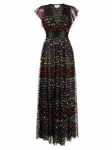 Temperley London rainbow sequin column dress - Black