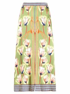 Temperley London floral rope print midi skirt - Green