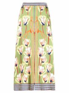 Temperley London floral rope print midi skirt - Green