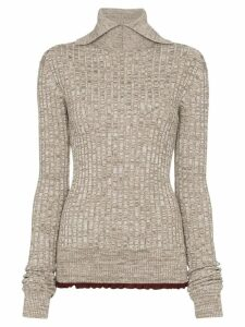 Jil Sander turtleneck ribbed knit jumper - Brown