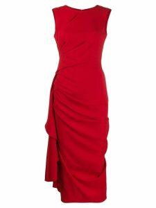 Alexander McQueen draped crepe midi dress - Red