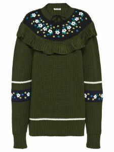 Miu Miu floral ruffled sweater - Green
