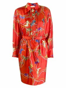Sandro Paris cowboy boots print shirt dress - Red