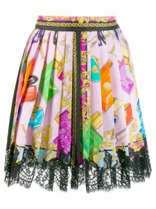 Versace Blonde print lace skirt - Pink