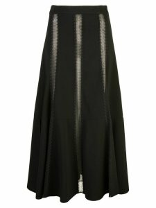 Derek Lam Flared Lace Inset Skirt - Black