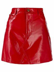 Chiara Ferragni wet look mini skirt - Red