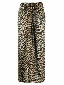 Ganni leopard print tie midi skirt - Brown