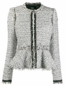 Karl Lagerfeld peplum tweed jacket - White
