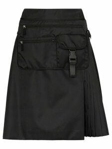 Prada gabardine belt bag pleated skirt - F0002 Black