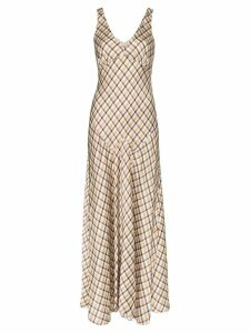 Paco Rabanne sleeveless check maxi dress - Brown