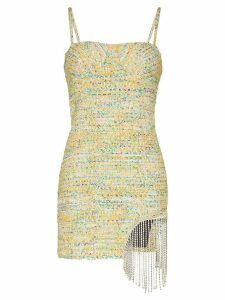 Area crystal-trimmed tweed mini dress - Yellow