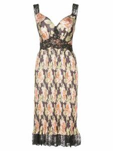 Paco Rabanne rose print sundress - Black