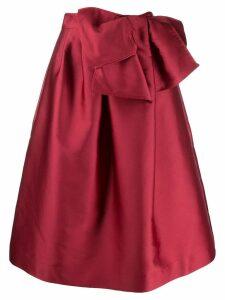 P.A.R.O.S.H. bow detail full skirt - Red