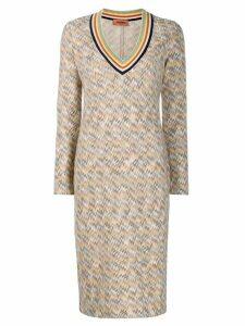 Missoni striped V-neck dress - Neutrals