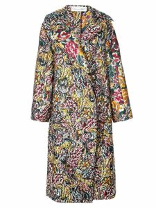Oscar de la Renta long floral brocade coat - Blue