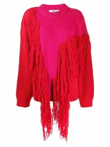 MSGM fringed oversized jumper - Pink