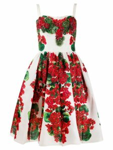 Dolce & Gabbana flared floral print dress - White