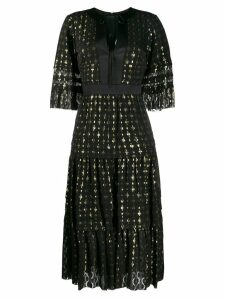 Temperley London gold flecked tiered dress - Black