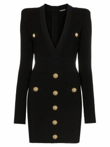 Balmain button-embellished quilted dress - Black