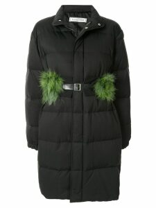 Tu es mon TRÉSOR padded faux fur belt coat - Black
