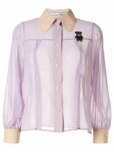 Tu es mon TRÉSOR sheer polka dot shirt - Purple